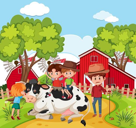 Crianças, tocando, com, vaca