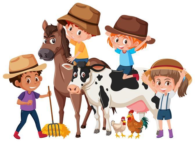 Niños con animales de granja.