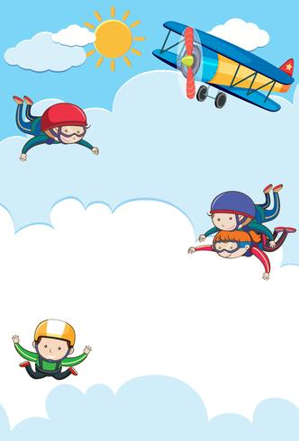 People Tandem and Free Skydiving vector