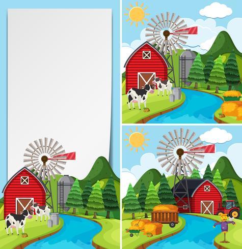Tres escenas de granja con vacas y granero.