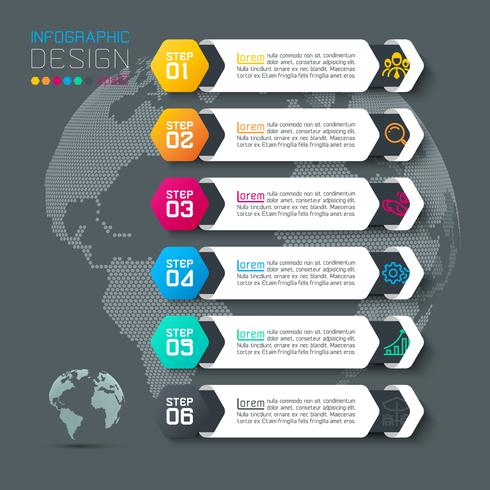 Six labels with business icon infographics.