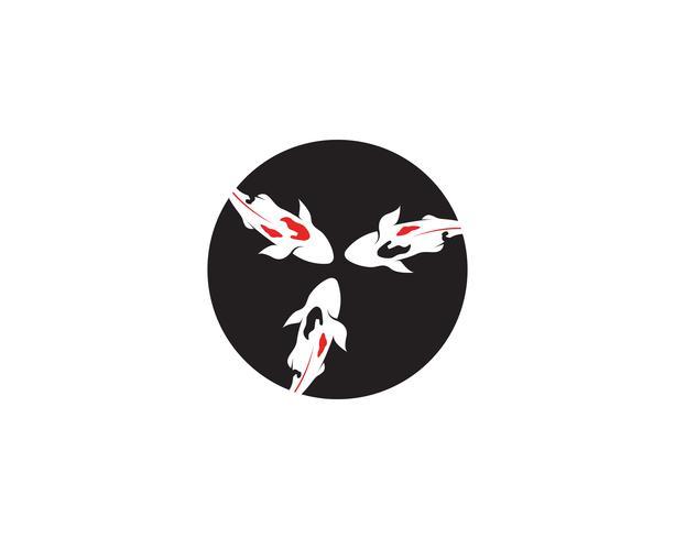 Pescado KOI logo y símbolo animal vector