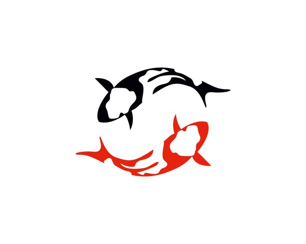 Peixe KOI logotipo e símbolo animal vector