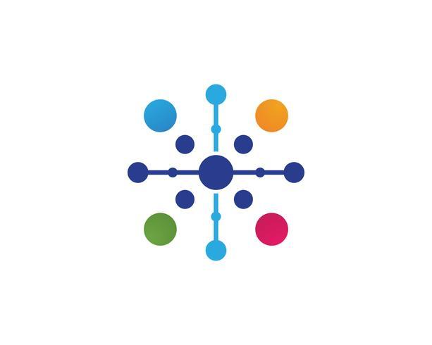 Van het het embleemmalplaatje van het moleculesymbool het vectorillustratieontwerp