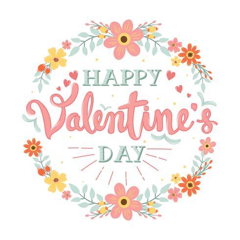Happy Valentines Day handgeschreven kalligrafie / typografie met bloem krans - vectorillustratie
