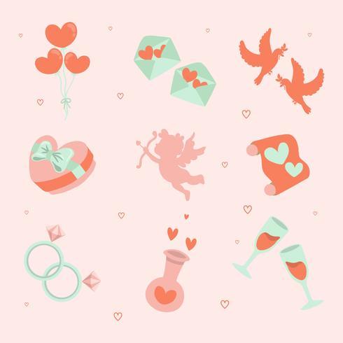 Dibujado a mano conjunto de iconos de San Valentín - ilustración vectorial