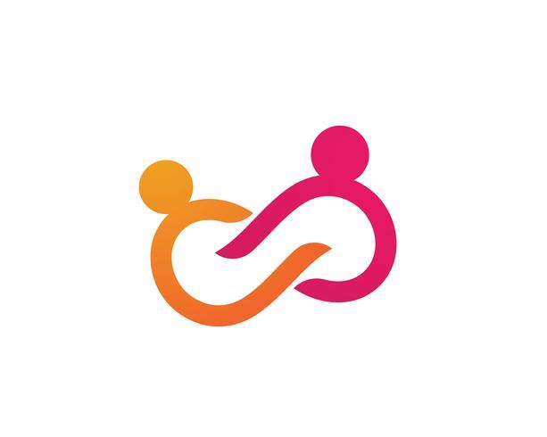 Adoção e modelo de logotipo de infinito de cuidados da comunidade