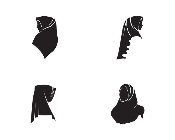 hijab vektor svart skönhetslogo