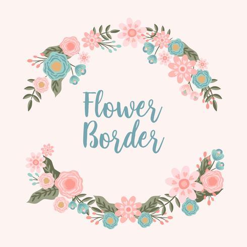 Fundo de fronteira mão desenhada flor convite - ilustração vetorial vetor