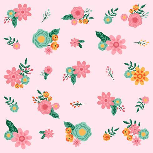Mão desenhada flor padrão sem emenda - ilustração vetorial vetor