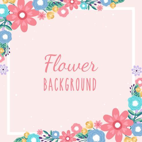 Fond de frontière invitation de fleur dessiné à la main - Illustration vectorielle