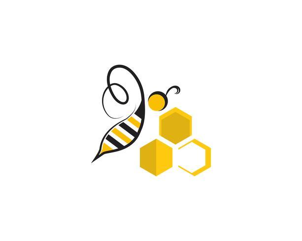 logotipo de abelha e modelos de vetor de símbolo