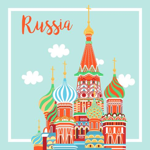 Moscow City Emblem St. Basil's Cathedral on Clear Sky - Vector Illustration