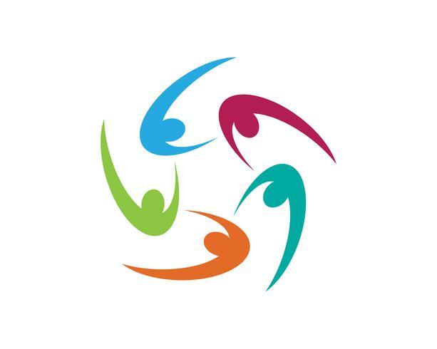 Gente de la comunidad cuida logos y símbolos vector