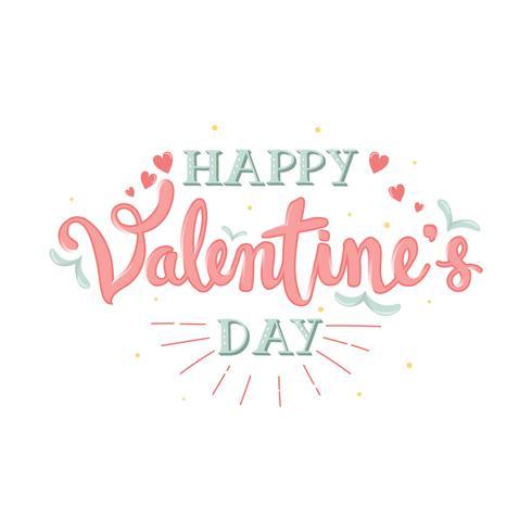 Handdragen Happy Valentine's Day Calligraphy Lettering With Banner - Vektorillustration