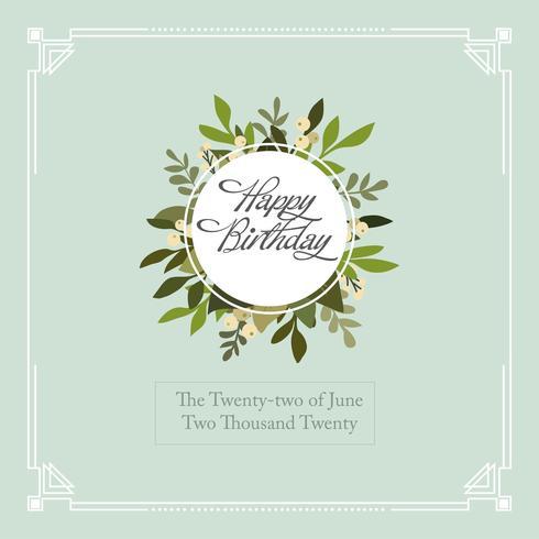 Plantilla de borde y marco de tipografía tarjeta de feliz cumpleaños de Art Deco moderno - Vector