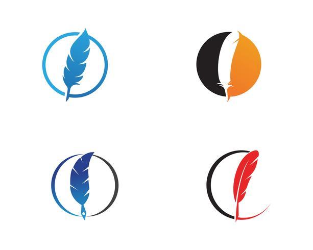 Caneta de pena escrever app de modelo de logotipo de sinal