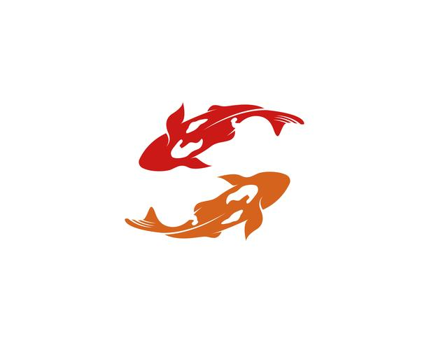 Fish KOI logo and symbol animal vector