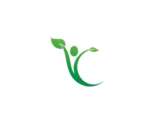 Plantilla de logotipo y símbolos de cuidado de personas de éxito de salud vector