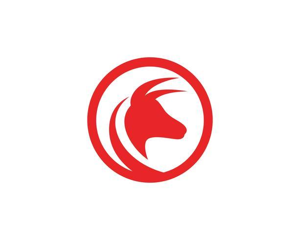 Stierhornlogo und Symbolschablonen-Ikonenvektor
