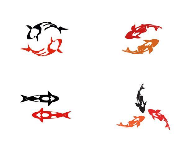 Fish KOI logo and symbol animal vector