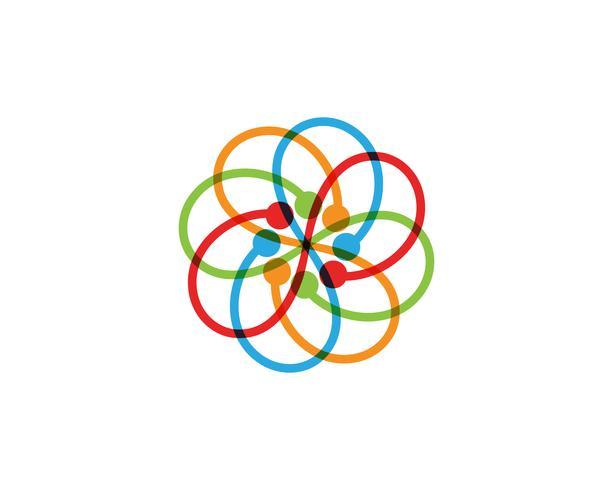 logo de motifs floraux et symboles sur un blanc