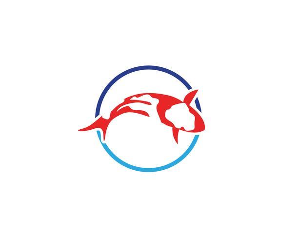 Poisson logo KOI et vecteur animal symbole