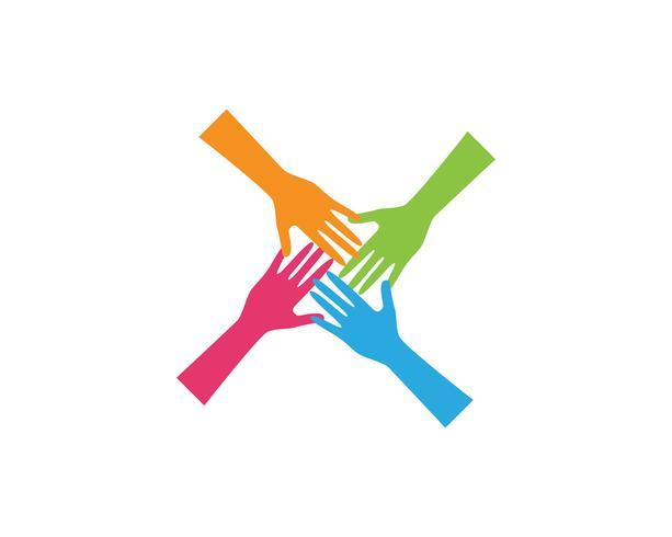 Icona di vettore del modello di Logo di cura della mano