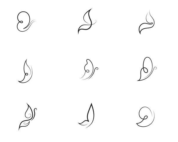 Diseño de icono de mariposa de belleza