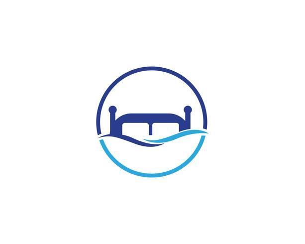 Cama logo y símbolo hotel negocio logo vector