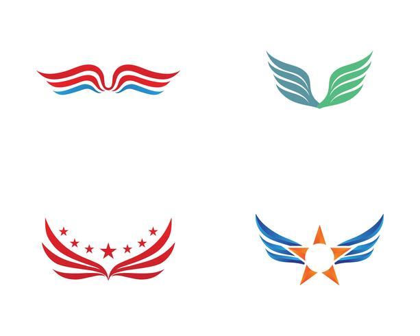Logotipo de ala y símbolo de plantilla de negocios.