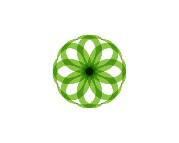 Logo de motivos florales y símbolos sobre un blanco vector