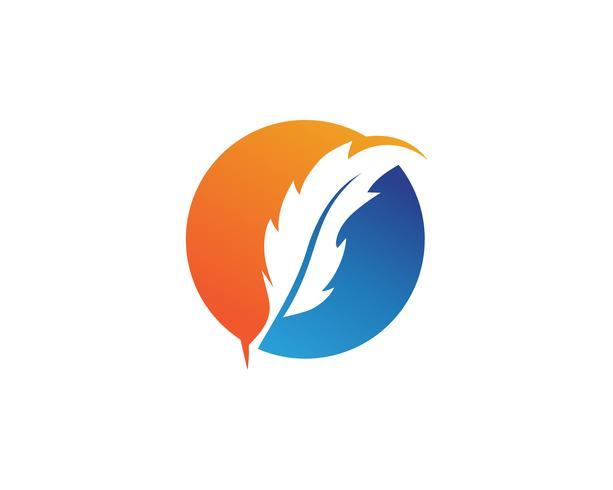 Feder Logo Vektor Vorlage Zeichen