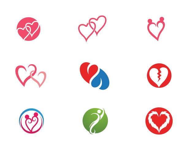 Amor coração logotipo e modelo