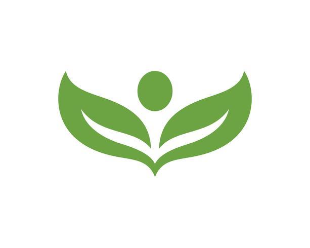 bladgrön naturlogo och symbolmall