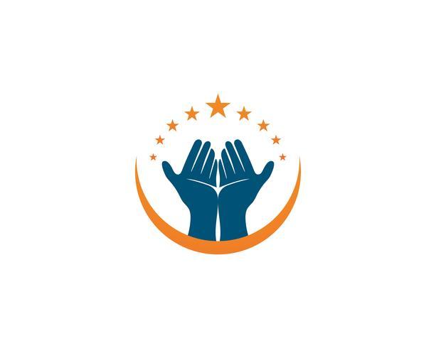 mano cuidado logotipo plantilla vector icono negocios