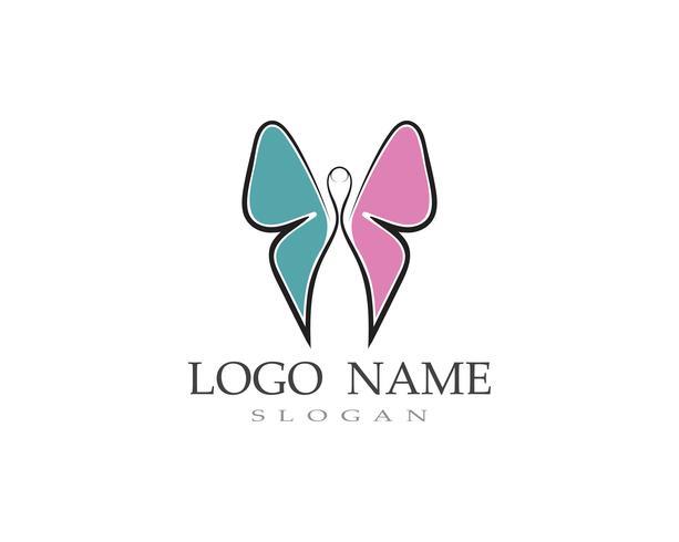 Logotipo da borboleta e símbolo vector