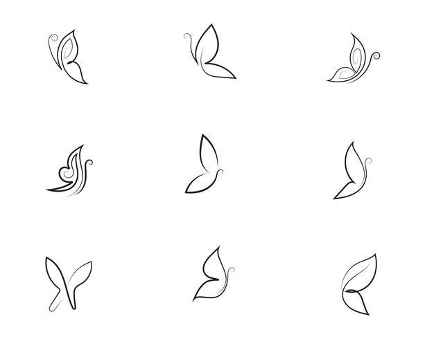 Disegno dell'icona di bellezza farfalla