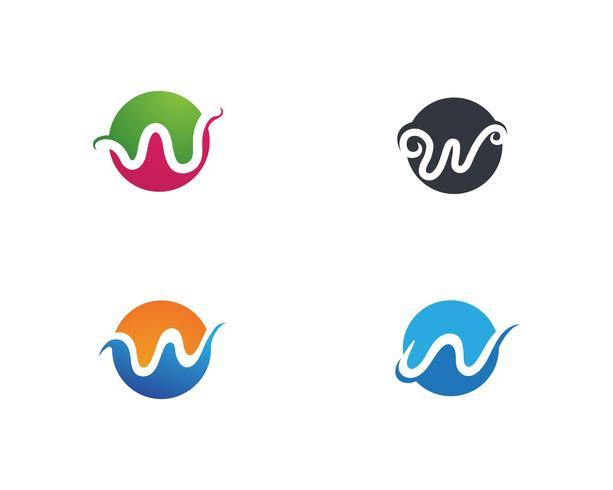 Logotipo de negócios de letras W e símbolos