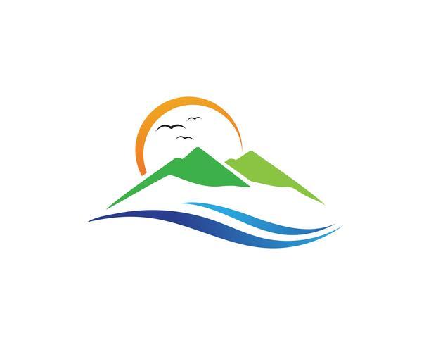 Inspirações de design de logotipo de montanha paisagem minimalista vetor