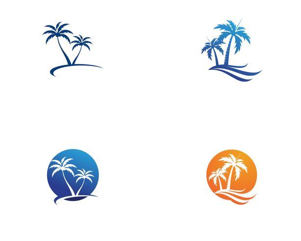 Modèle de logo été Palmier