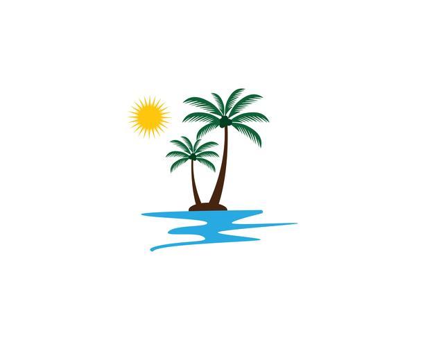 Modello di logo estate albero di Palma