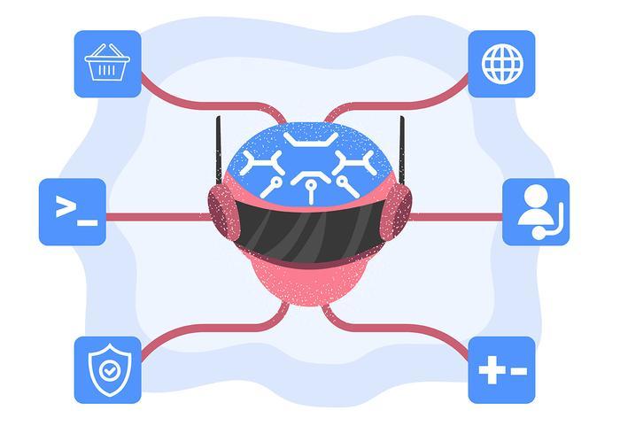 Konstgjord intelligens med robothuvud vektor