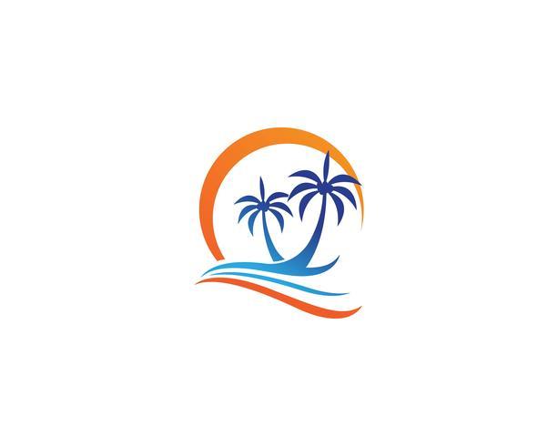 Modelo de logotipo de verão palmeira