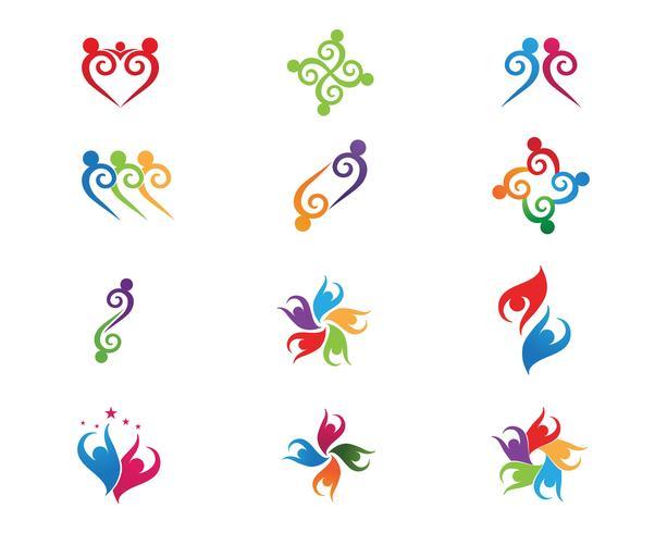 Vecteurs de logo d'adoption de groupe communautaire