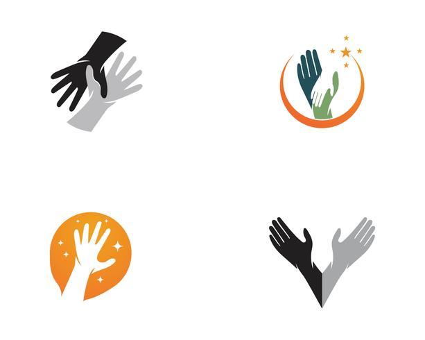 Vetor de logotipo de cuidados de mão