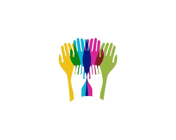 Ícone de vetor de cuidados mão logotipo modelo negócios - vetores