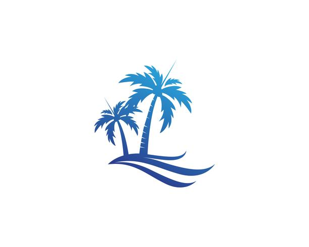 Palmera plantilla de logotipo de verano
