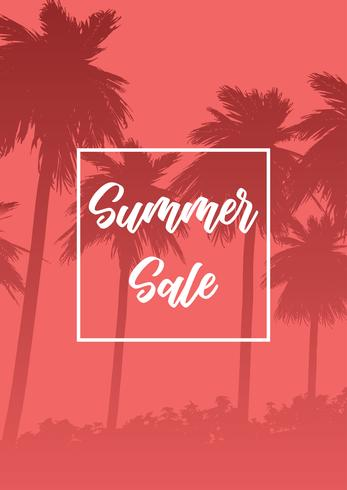 Fondo di vendita di estate con le siluette della palma