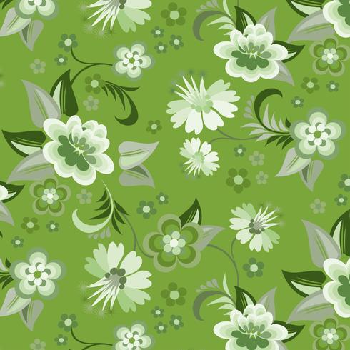 Seamless grön blommig tapet